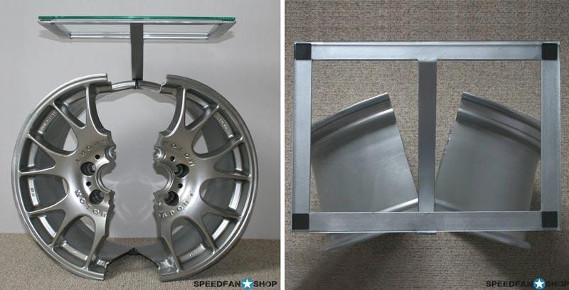 Beistelltisch Felgentisch Motorsport Mit Glasplatte